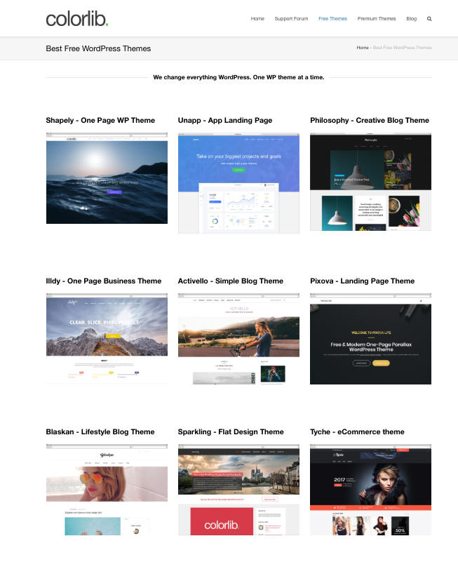 Selection of blog themes by Colorlib